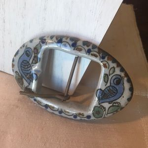 vintage Ken Edwards Mexico pottery belt buckle